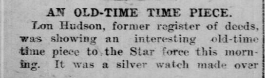 watch lon hudson - AN OLD-TIME TIME PIECE. Lon Hudson, former...