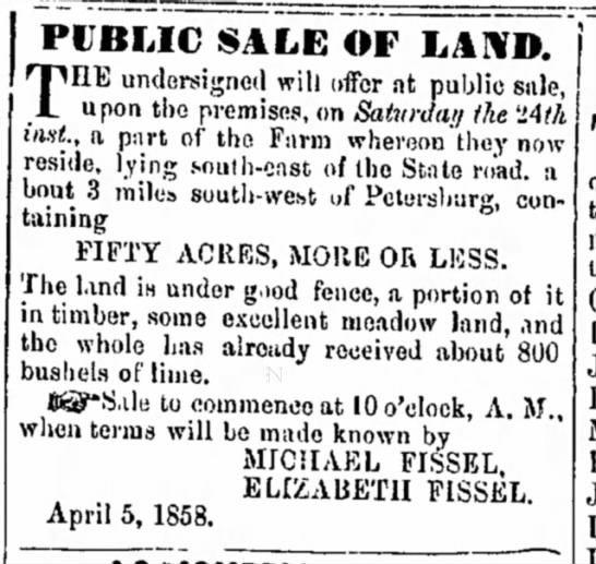Michael Fissel - Sale of land - Act Com Oct PUBLIC SALE OF LAND. T EE...