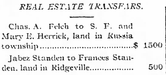 Standen, J-F real estate transfer, 1887