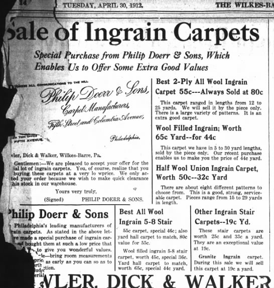 Justice/Digby-Doerr Advert for Doerr carpet in Wilkes-Barre, PA 1913 - i. TUESDAY, APRIL 30,4912. THE WILKES-BARRE...