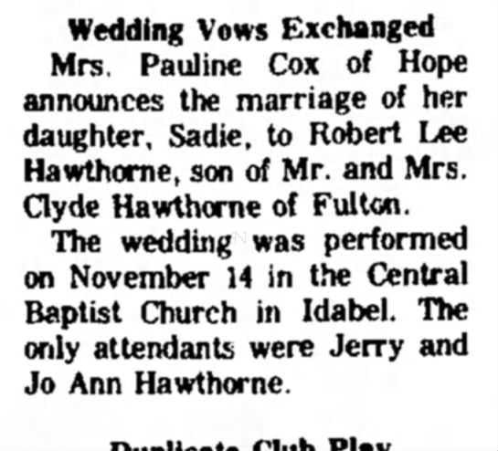 24 Nov1971 Hope Star p3 Clyde Hawthorne - Wedding Vows Exchanged Mrs. Pauline Cox of Hope...