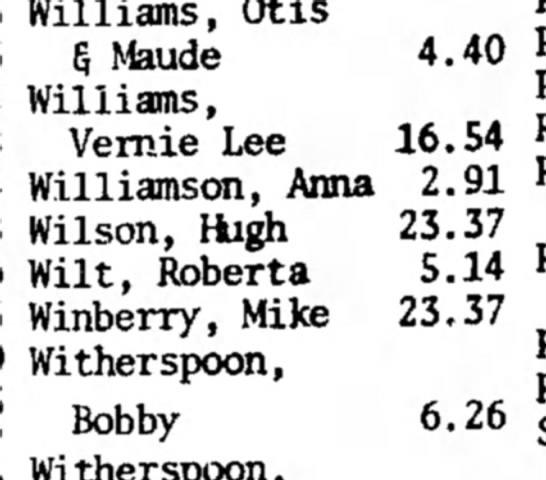 Winberry HS 26 Nov 1971 p3 Delignquent Taxes - Williams, Otis 5 Maude Williams, Vernie Lee...