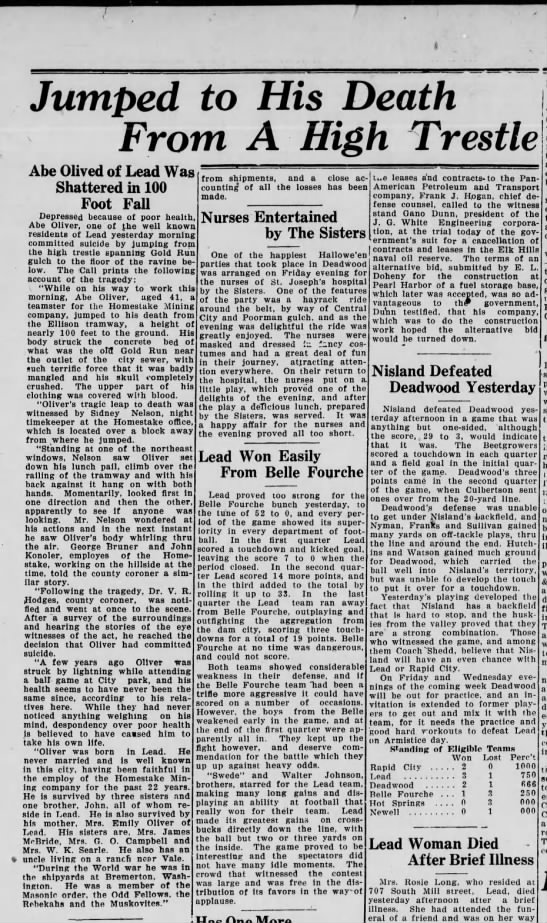 Weekly Pioneer Times 11-1924 - Jumped to His Death From A High Trestle Abe...