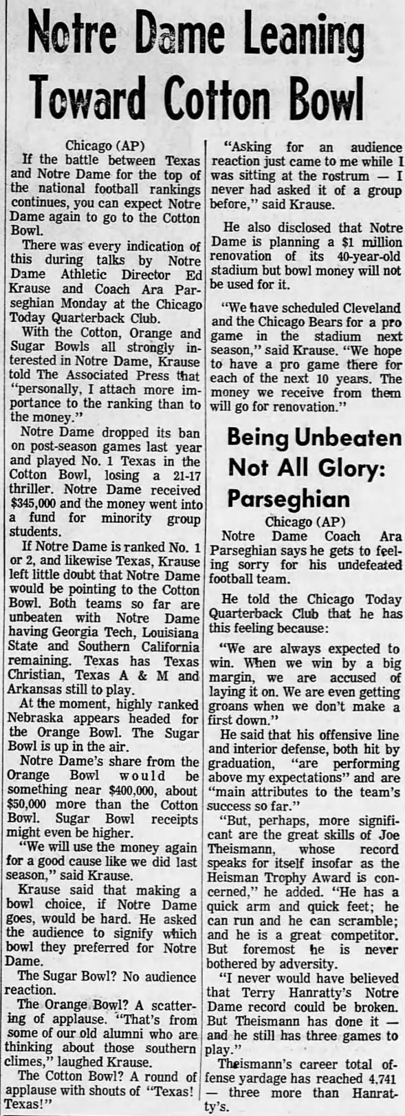 1970.11.09 Notre Dame to Cotton Bowl?