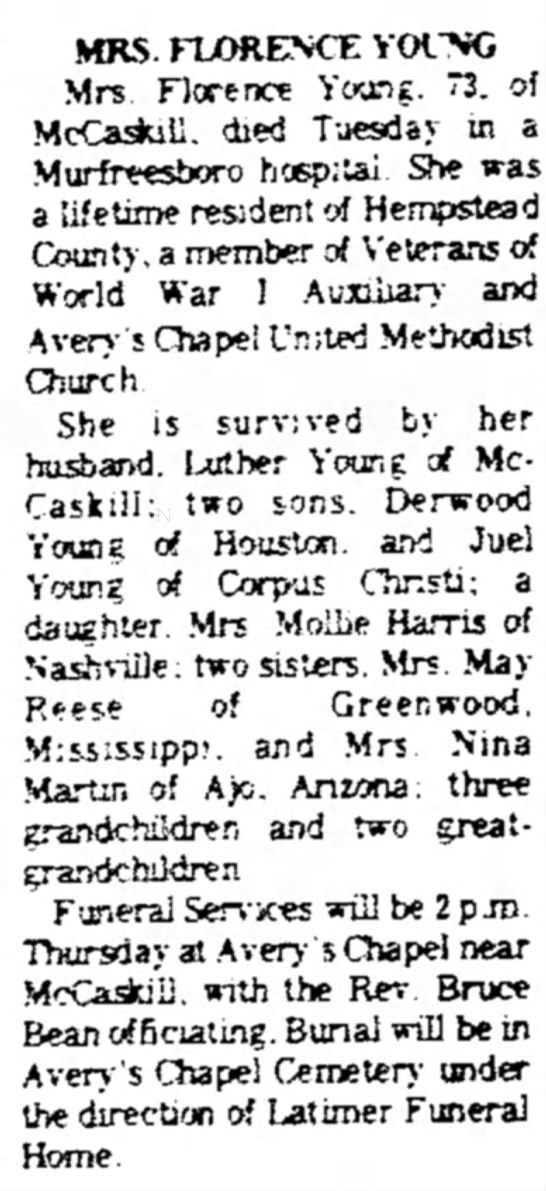 Florence Young_obit_Hope Star, AR_12-15-1971 - MRS. FLORENCE YOfNG Mrs. Florence Younf. 73. of...