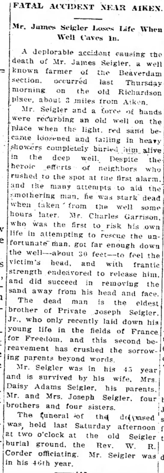 James Seigler dies in well cave-in (27 Nov. 1918) Aiken, S.C. - FATAJL ACC!1>K.\T XKAK AIKEN. Mr. Jumes Seigler...