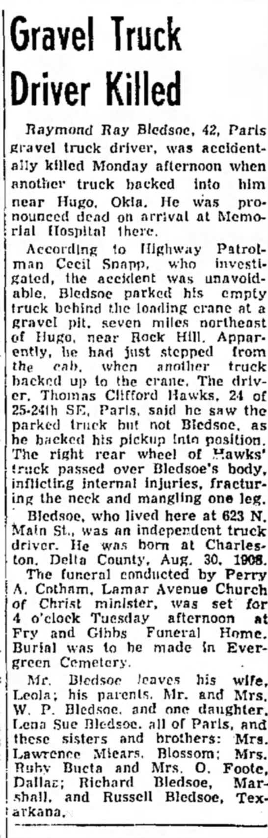 Ray Bledsoe obit