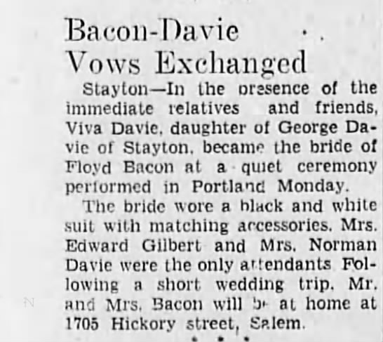 Bacon-Davie Vows - Bacon-Davie Bacon-Davie Bacon-Davie . ' Vows...