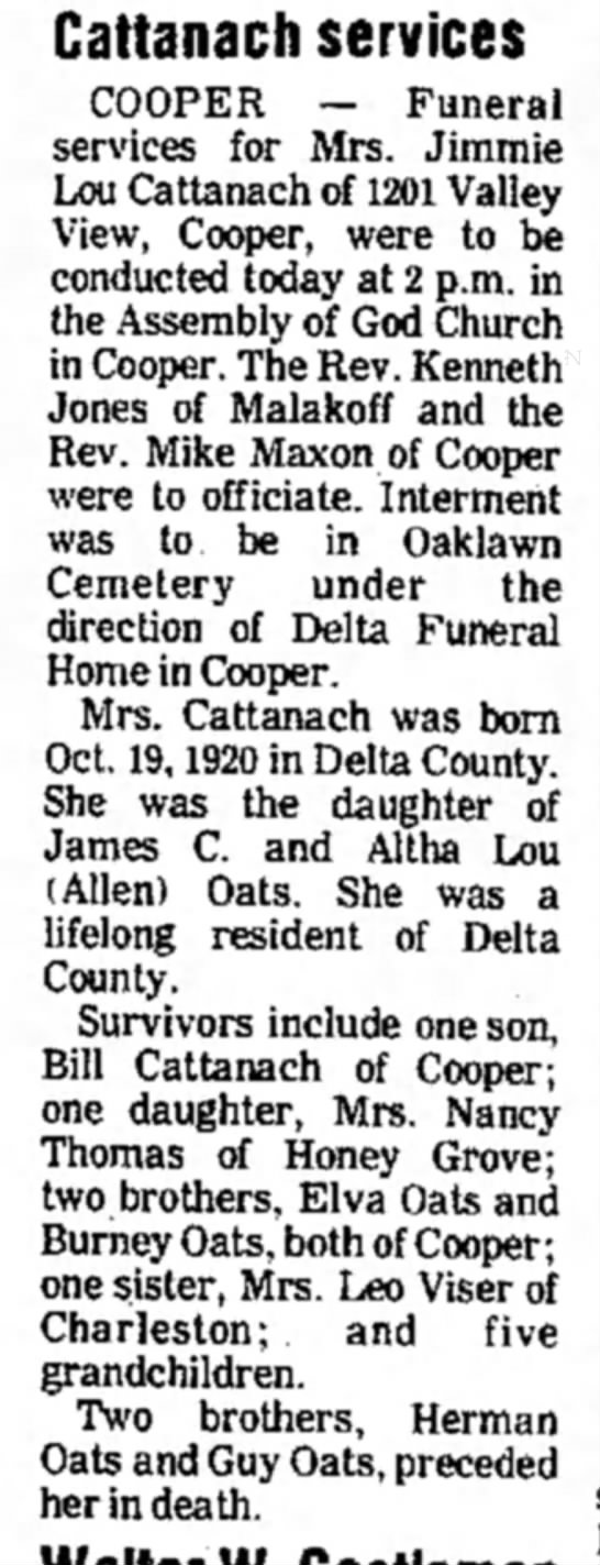 1979 obit Jimmie Oats Cattanach - Cattanach services COOPER — Funeral services...