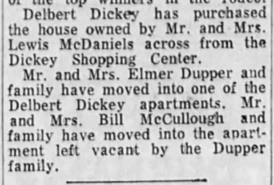 Delbert Dickey house purchased from McDaniels - Delbert Dickey has purchased the house owned by...