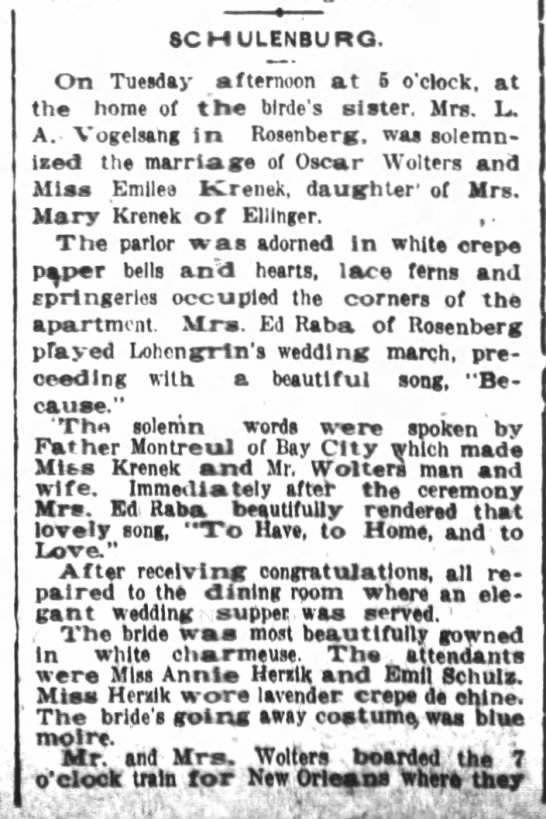 Oscar and Emilie (Krenek) Wolters - Marriage Announcement 1914 - 6CHULENBURO. On Tuesday afternoon at i o'clock,...