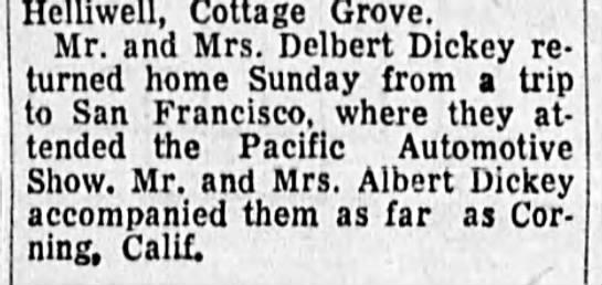 Delbert Dickey San Fran Trip - Hclliwell, Cottage Grove. Mr. and Mrs. Delbert...