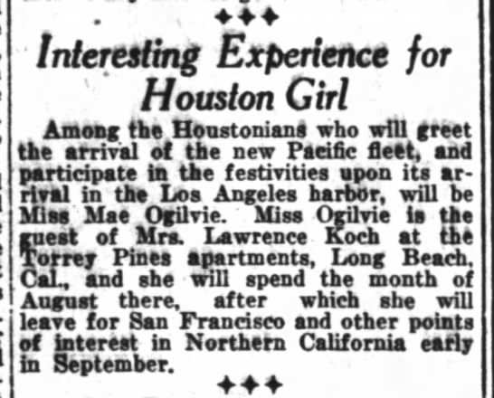 Mae Ogilvie in Los Angeles - Interesting Experience for Houston Girl Among...