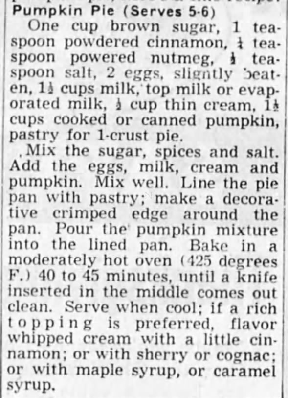 Pumpkin Pie recipe, 1948