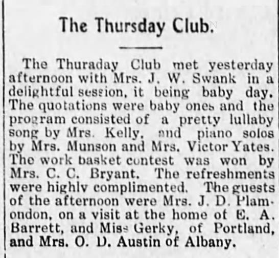 1911-6-30 Clara Swank hosts Thursday club-baby day - The Thursday Club. The Thuraday Club met...