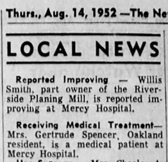 Gertrude in hospital - j Thurt., Aug. 14, 1953 Tht Nc - LOCAL NEWS...