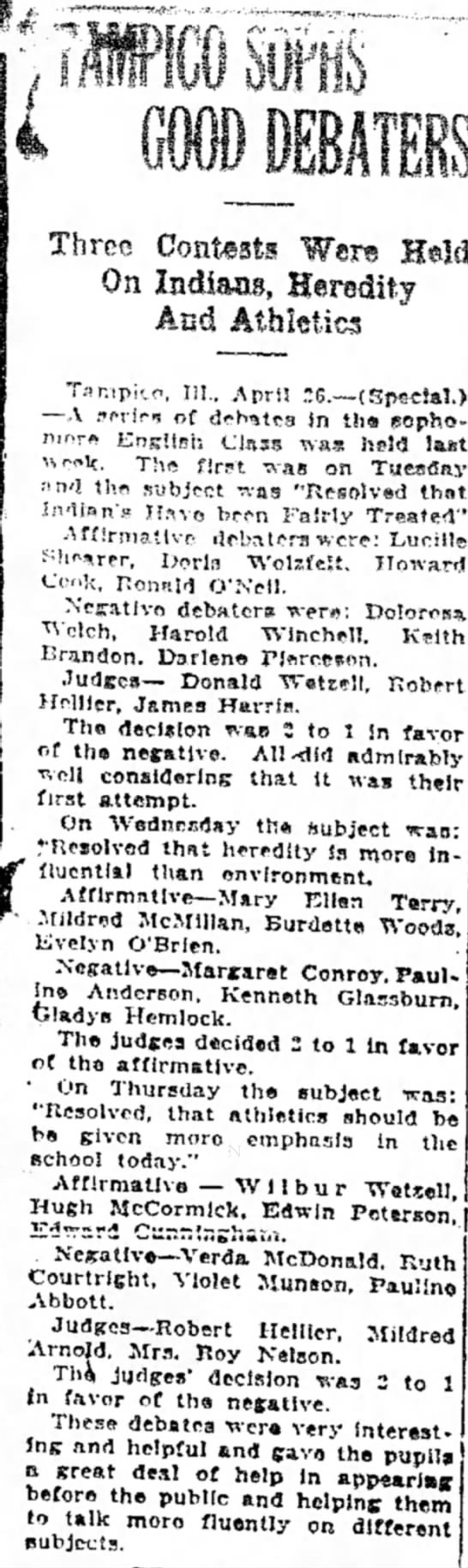 Margaret Conroy Apr 26, 1926 Sterling Daily Gazette - Three Contest! Were On Indians, Heredity And...