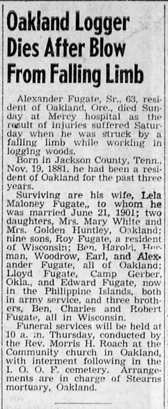 Alex Fugate Sr. death - Oakland Logger Dies After Blow From Falling...