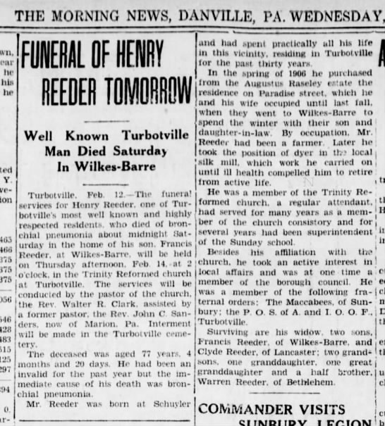 Henry E. Reeder Obituary, February 1929, Pennsylvania