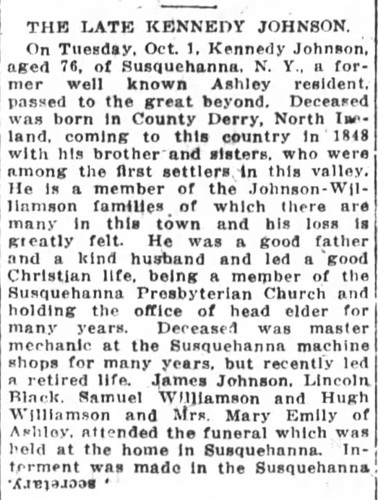 Kennedy Johnson obituary 4 Oct 1913 - THE LATE KENNEDY JOHNSON. On Tuesday, Oct. 1,...