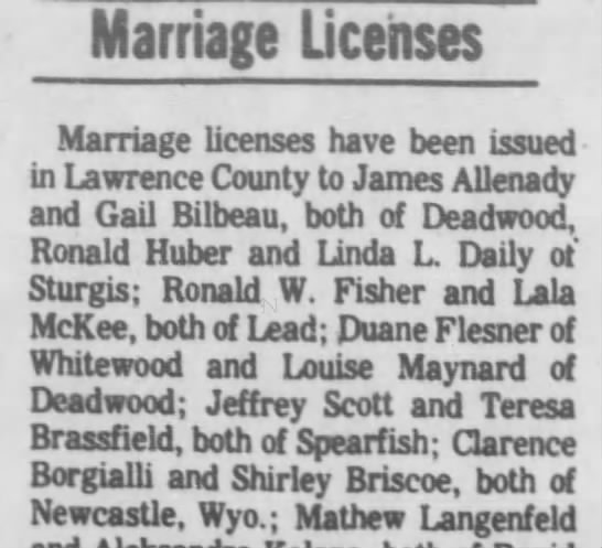 Clarence Borgialli and Shirley Briscoe Marriage License, Spearfish, South Dakota, - Marriage Licenses Marriage licenses have been...