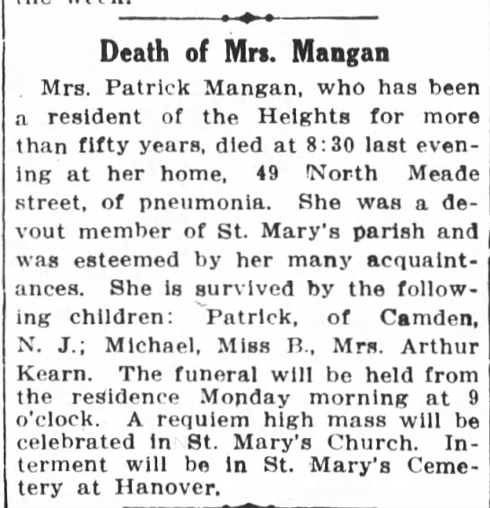 Bridget Mangan death Notice - Death of Mrs. Mangan . Mrs. Patrick Mangan, who...