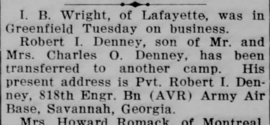 Robert I denney - I. B. Wright, of Lafayette, was in Greenfield...