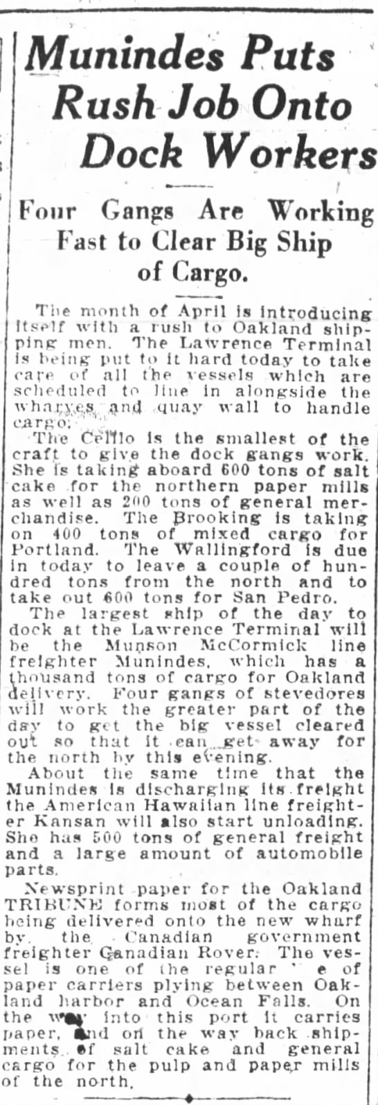 Kansan auto parts to Oakland Apr 1926 - Munindes Puts Rush Job Onto Dock Workers Four...