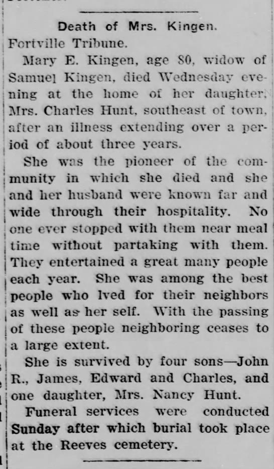 Obituary of Mrs. Samuel Kingen - Death of Mrs. Kingen Fortville Tribune. i Mary...