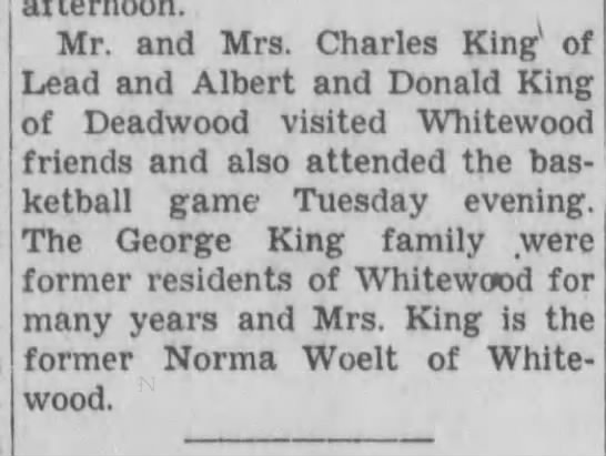 Don and Charles King - Mr. and Mrs. Charles King1 of Lead and Albert...