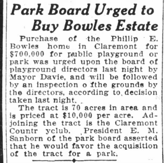 Bowles Estate as public playground - Park Board Urged to Buy Bowles Estate Purchase...