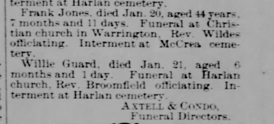 Death of Frank Jones, Arthur Franklin Jones, Jan 21 1900 - Iti-terment at Harlan cemetery. Frank Jones,...