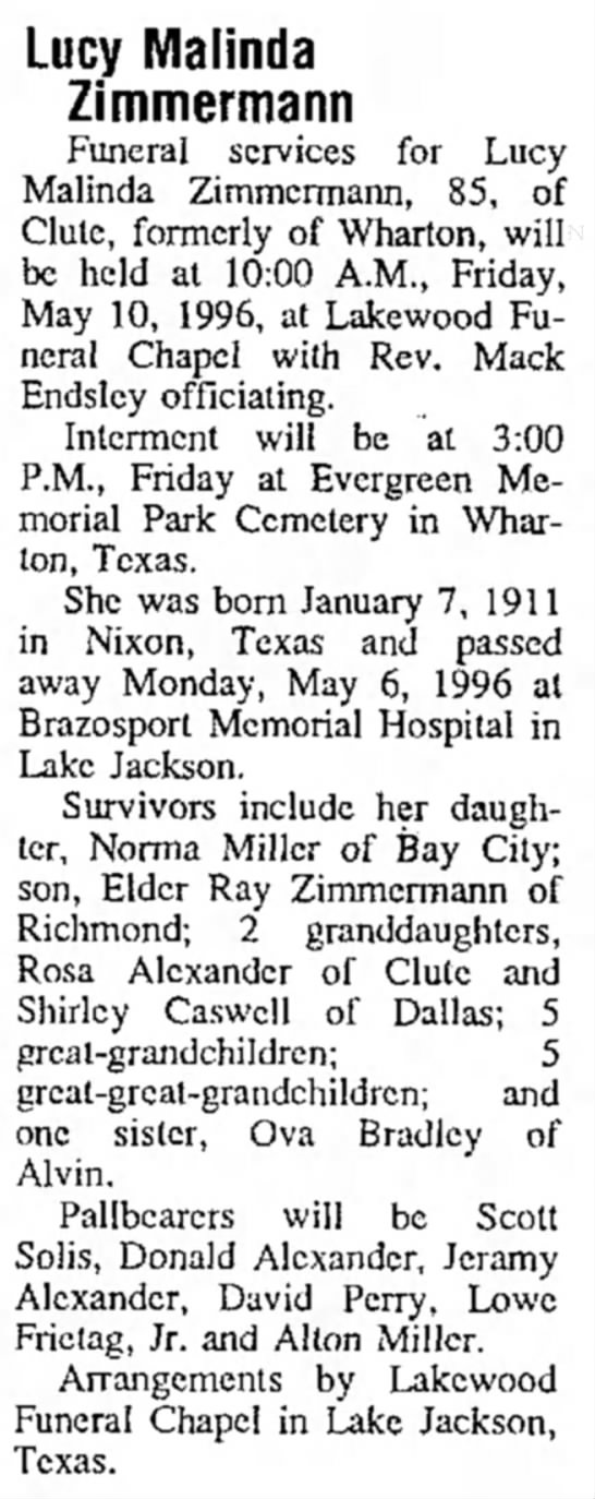 Grandma Lucy obit - Lucy Malinda Zimmermann Funeral services for...
