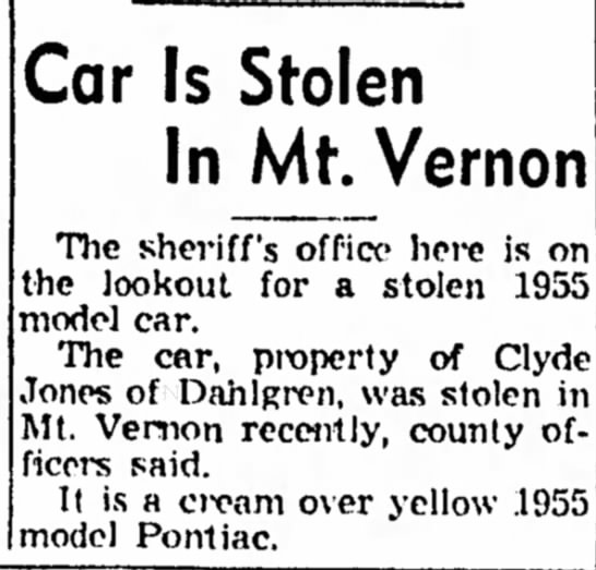 Clyde Jones automobile is stolen. - Car Is Stolen In Mf. Vemon The sheriff's office...