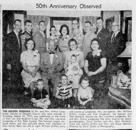Nita's grandparents--with Nita, Joe, Terry, and Bruce - 50th Anniversary Observed THE GOLDEN WEDDING of...