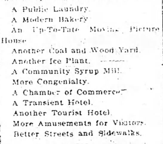 A Man's List of What His Small Town Needs - ,\ Pub lie Laundry. A Modern Hnki-ry An...