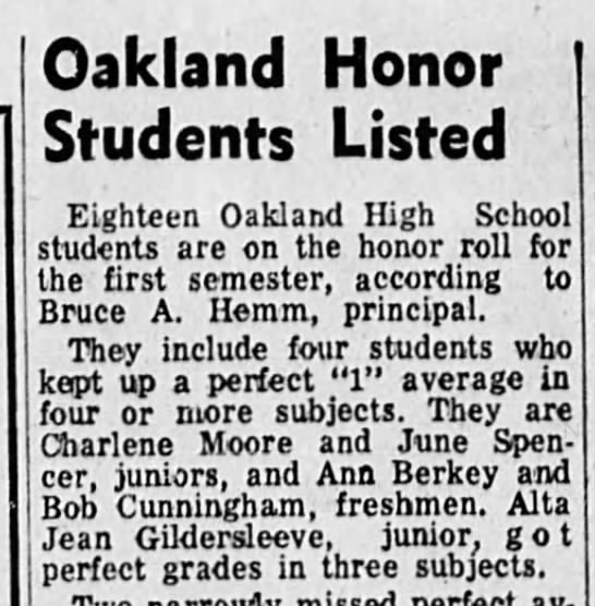 June on honor roll - Oakland Honor Students Listed Eighteen Oakland...