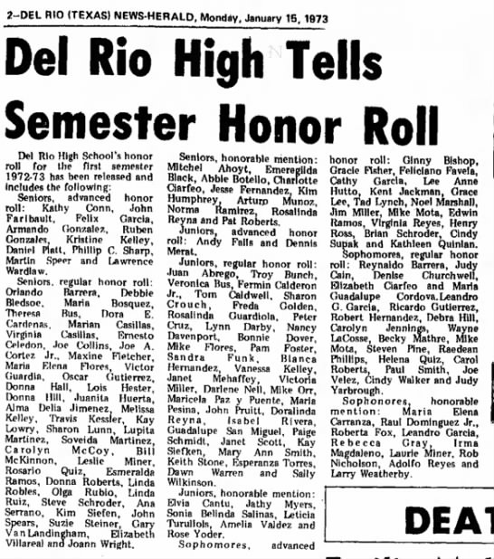 Andy Falls, honor roll, Jan 1973 - 2-DEL RIO (TEXAS) NEWS-HERALD, Monday, January...