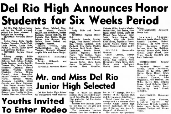 Andy Falls named to honor roll, Mar 1973 - Del Rio High Announces Honor Students for Six...