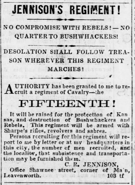Recruitment Ad for the 15th Regiment - JEflh'ISQH'S REGIMENT! NO COMPROMISE WITH...