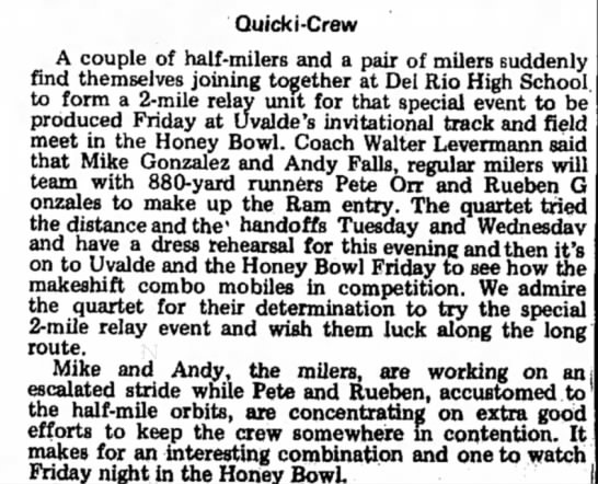 Andy Falls, high school track, Mar 1973 - Quick i -Crew A couple of half-milers and a...