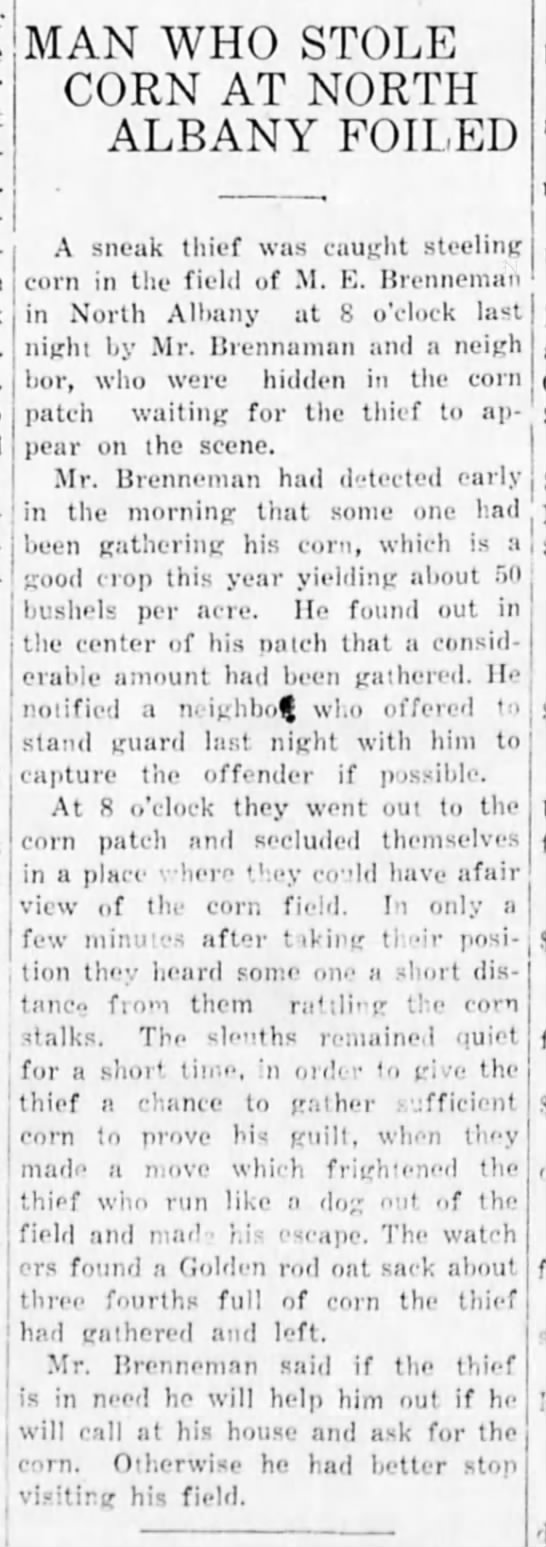 1921-10-4 North Albany corn thief (misc) - , MAN WHO STOLE CORN AT NORTH ALBANY FOILED A...