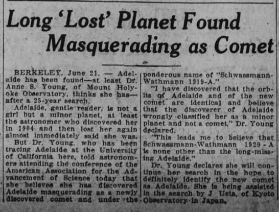 Anne Sewell Young (1871-1961) - Long 'Lost' Planet Found Masquerading as Comet...