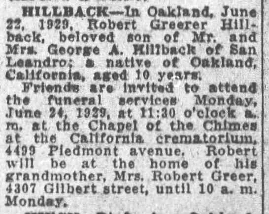 Robert obit - HILLBACK In Oakland, June 25, 1929, Robert...