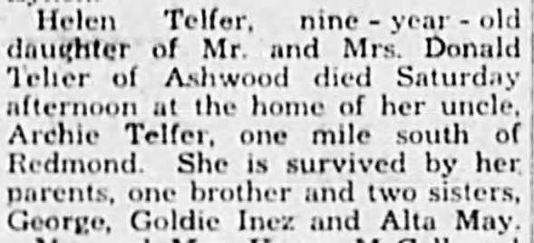 Helen Telfer's death