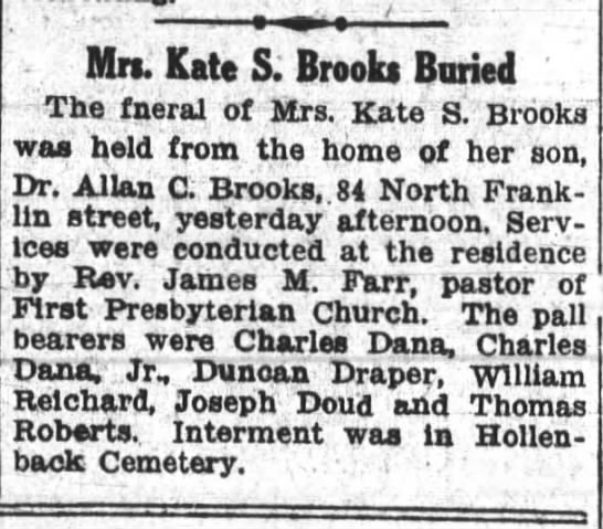 Charles T Dana and Charles T Dana Jr Wilkes-Barre PA - - . Pitrs Kate S; Brooks Buried 1 The fneral of...