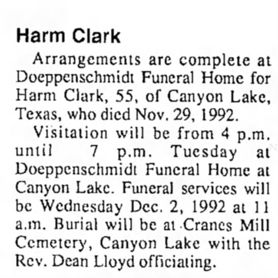 Harm Clark - Harm Clark Arrangements are complete at...