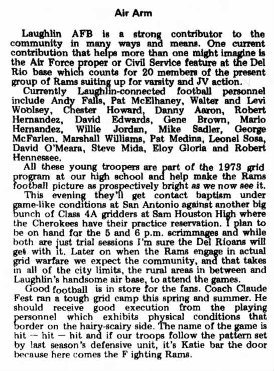Andy Falls, high school football, Aug 1973 - Air Arm Laughlin AFB is a strong contributor to...