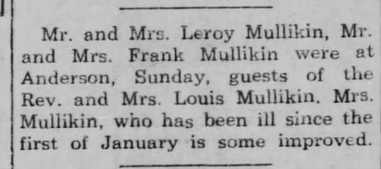 The Franklin Evening Star 20 Feb 1951 - Mr. and Mrs. Leroy Mullikin, Mr. and Mrs. Frank...