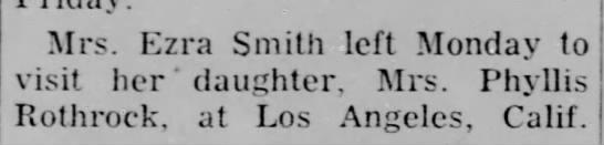 - Mrs. Ezra Smith left Monday to visit her '...